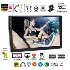 9''2 Din GPS Android Car Radio Airplay+Camera iOS Mirror Link Wifi Touch BT FM