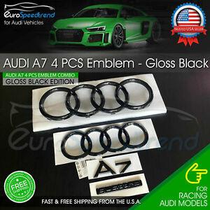 Audi A7 Front Rear Curve Rings Emblem Gloss Black Logo Quattro Badge Set OE 4PC