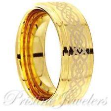 Celtic Knots Mens Rings Tungsten Rings for Men 18K Gold Ring Mens Wedding Bands
