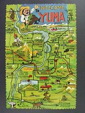 Yuma Arizona Cartoon Road Map Landmarks Vintage Continental Postcard 1950s