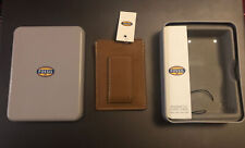 Fossil Mens Magnetic Card Case Genuine Leather New In Metal Tin