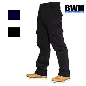 Mens Combat Cargo Work Trousers Black or Navy Size 28 to 52 Short Reg Tall - BWM