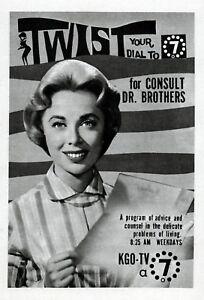 1962 DR JOYCE BROTHERS-KGO Tv Ad-SAN FRANCIS CALIFORNIA CH 7  (TV5)