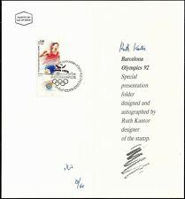 ISRAEL 1991 Stamp ARTIST SIGNED Folder BARCELONA OLYMPICS SCARCE XF (Very Nice)