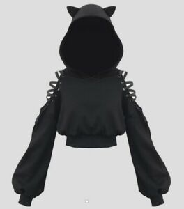 Cropped Black Cat Ear Hoodie With Draw String Shoulders, Small, New With Tags