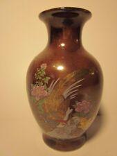 "Vintage 3.5"" Ceramic Vase Peacock Bird Floral Design Brown Pink Flowers Japan"