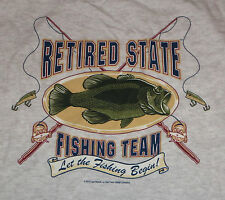 Retired State FISHING Team T-Shirt XL Gray Lures Poles Short Sleeve New