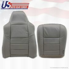2004 05 Ford F250 F350 Driver Top Lean Back & bottom Leather Seat Cover Gray