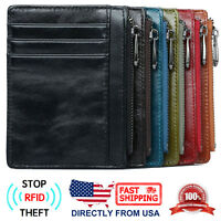 Men's RFID Blocking Full Grain Leather Zipper Pocket Slim Minimalist Wallet