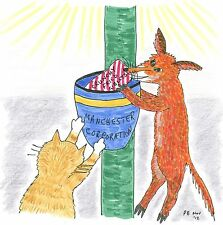 "Card: ""Urban Fox and Cat raid bin"" #CatBooks No.5 #PeterBrighouseillustrator"