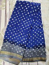 Royal Blue Chunari Silk Sari with Grey and Golden Border