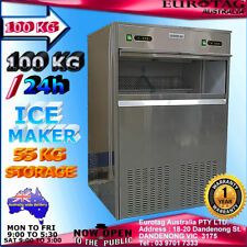 EUROTAG HEAYV DUTY COMMERCIAL ICE MAKER MACHINE 100KG 24h 55KG STORAGE RRP$2495