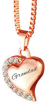 Grandad Rose Gold Heart with Crystals Urn Pendant Necklace Cremation Jewellery