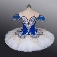Adult White Blue Professional Costume Pancake Ballet Tutu Drop Sleeves Skirt New