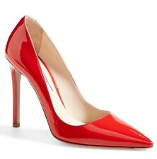 PRADA Milano Italy Patent Leather Pointed Toe Pump 37/7 High Heel Silver $825