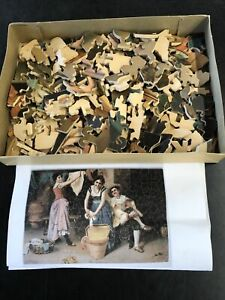 Vintage EARLY Wooden PASTIME Jigsaw PUZZLE Parker Brothers Wash Day 220pcs