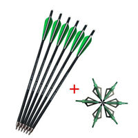 "6pcs 16"" Crossbow Carbon Arrows + Archery Hunting Arrowheads Broadheads 100gr"