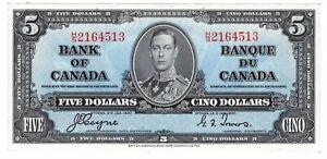 Canada UNC $5 Dollars 1937 P-60c BC-23c H/S Prefix Coyne-Towers KGVI Banknote