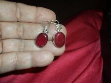 """Earrings--12CT Earth Mined Ruby 925 Solid Sterling Silver  1 1/3"""" Long"""