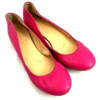 J Crew 64408 Cece Ballet Flat Ballerina Pink Fuchsia Leather 9.5 Slip On Round