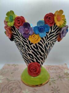 Mary Rose Young pottery, Art Pottery Vase, 9 Inch Zebra Design, 2010, MINT