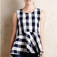 Anthropologie HD In Paris Blue Plaid Gingham Peplum Tank Top Blouse 00
