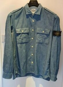Stone Island Chambray Shirt XXL blue Fantastic Condition Low Start.
