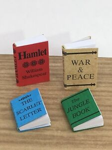 Dollhouse miniature 4 BOOKS, CLASSICS room accessory library red blue green