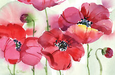 Cala Home Fresh Poppies Paper Placemats, 24 Count