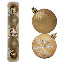 Christmas Decoration 5 Pack 60mm Snowflake & Glitter Baubles - Gold