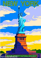 New York City Statue of Liberty United States Travel Advertisement Art Poster