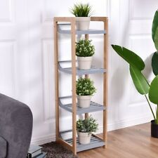 4-Tier Home Bamboo Storage Organizer Cabinet Tower Stand Rack Mount Shelf Us