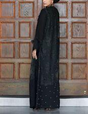 Women Kaftan Abaya Muslim Islamic Long Sleeve Open Front Lace Black Pearl sz XL