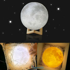 3D Printing Moon Touch Led Desk Table Lamp Nightlight Usb Rechargeable Xmas 10Cm