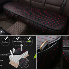 Universal Black PU Leather Car Back Seat Cover Rear Bench Cushion Mat Red Seam