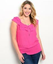 NEW..Goegeous Plus Size Pink Ruffled Neck Top with Shirred Hemline..Sz14/1XL