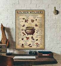 Kitchen Witchery Poster Witches Magic Knowledge Wall Decor Gift Blessing Incense