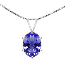 Natural Tanzanite AAA+ Oval cut Pendant Necklace 1.30 cttw, 8X6MM with chain