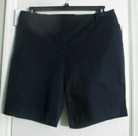 "Talbots Plus 18W Perfect Shorts Bermuda 10.5"" Inseam Navy Cotton Stretch NWT $59"