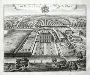 LOWER SWELL, Stow on the Wold,Gloucestershire, KIP bird's eye antique print 1768