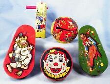 5 Vintage Clown Tin Noisemaker Toys Lithograph Wood Handles Ratchet Bells #3