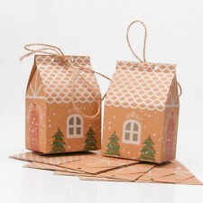 10Pcs Christmas Gift Bags House Candy Cookie Sweet Packaging Party Box Xmas