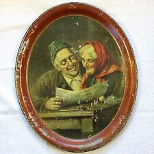 THURSTON & KINGSBURY Toleware Painted Tin OVAL TOLE TRAY Maine ME Vtg Antique