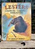 Lester's Ammo Vintage Metal Tin Sign Wall Decor Garage Man Cave Home Under $20