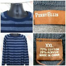 Perry Ellis NWT XXL Cotton Blend LS Sweater Blue Stripes                   H24
