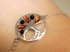 925 Sterling Silver Oval Cabochon Cognac Baltic  Amber  Tree of Life Bracelet