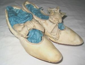 Antique Leather Shoes Child, Large Bisque Doll Center Bow, Pointed Toes