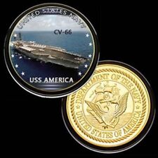 U.S. United States Navy | USS America CV-66 | Gold Plated Challenge Coin