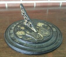 Decorative Cast Iron Sundial Dark Brown & Gold Butterflies and Flowers 9 inches