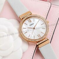 NWT 🍭 Fossil Madeline ES4581 Rose-Gold White Leather Crystal Pearl Dial Watch